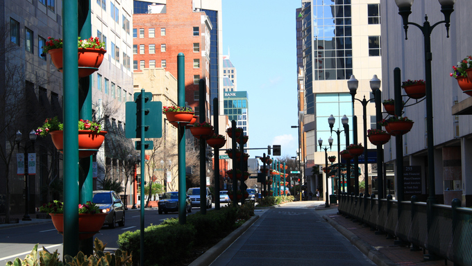 A view of downtown Orlando, Florida, looking north on Orange Avenue at Church Street.