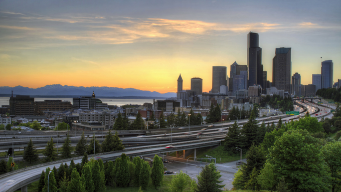 Seattle Washington Skyline and Freeway at Sunset.