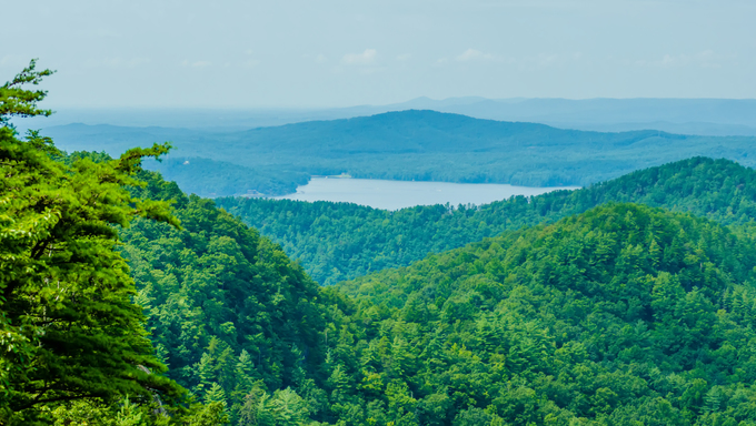 Aerial view over South Carolina Lake Jocassee Gorges Upstate Mountains.