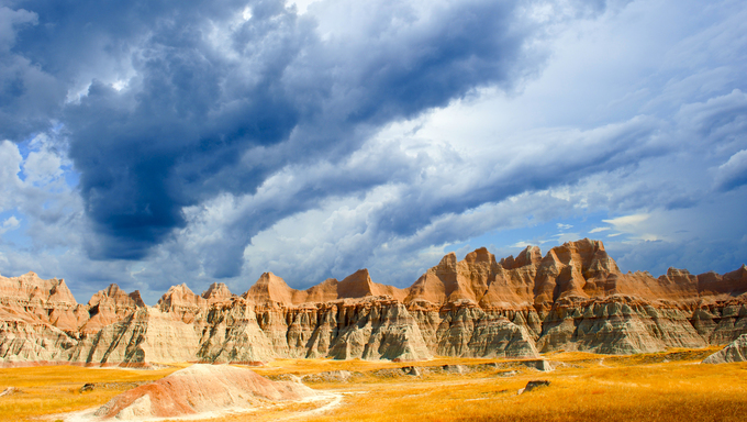 A stormy day the the Badlands National Park.