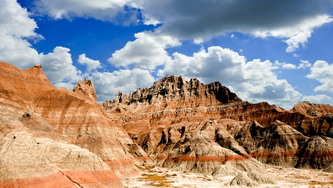 Colorful rocks at Badlands National Park, South Dakota.