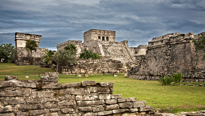 Mayan ruins El Castillo and the Temple of the Descending God in Tulum, Mexico
