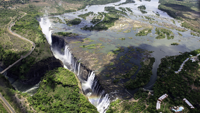 The Victoria Falls from air in Zimbabwe.