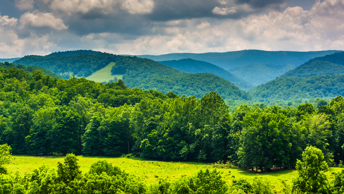 View of mountains in the Potomac Highlands of West Virginia.