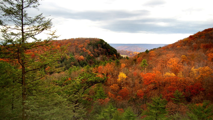 The colorful hills of West Virginia in Autumn.