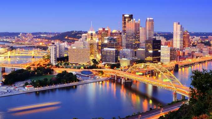 Downtown Pittsburgh, Pennsylvania at dusk.