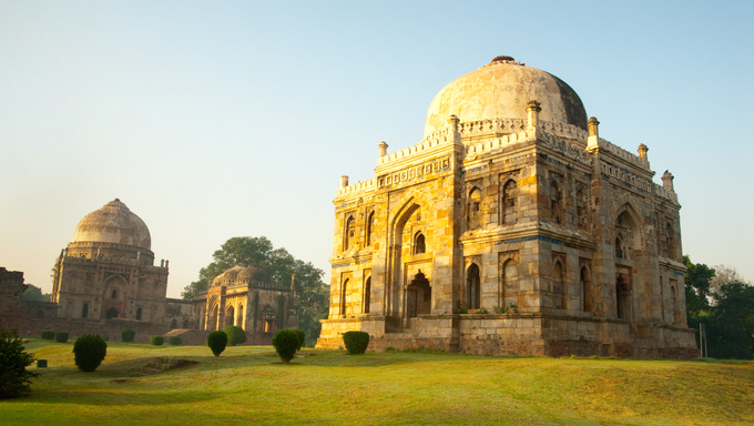An early morning scene from the lovely Lodhi Gardens in New Delhi, India