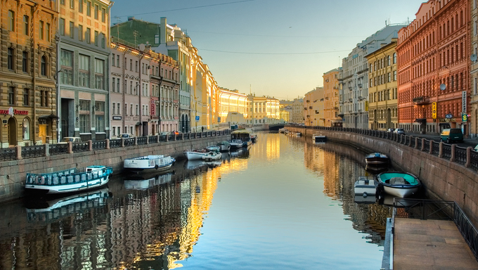 River channel with boats in Saint-Petersburg. Spring