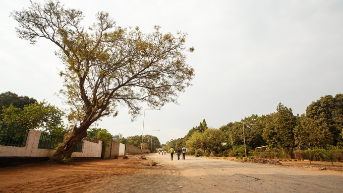 Dusty Road through center of Livingstone Town, Zambia - Africa