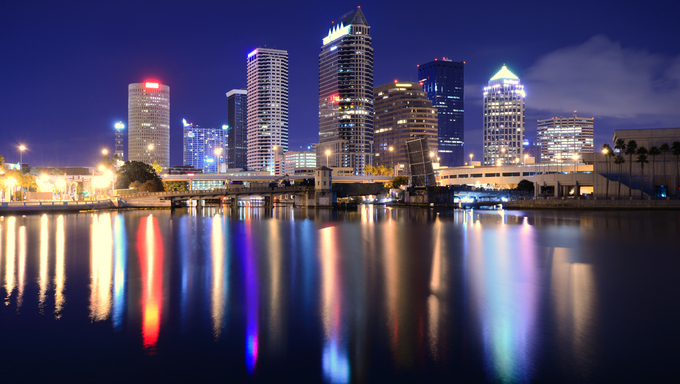 The skyline of downtown Tampa, Florida.