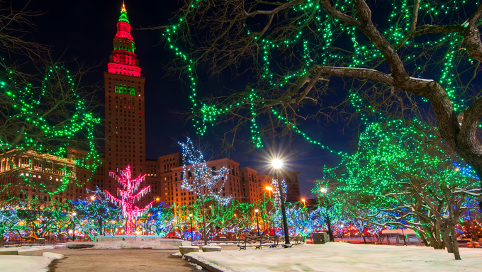 The Terminal Tower and Public Square in Cleveland Ohio colorfully lit up for Christmas.