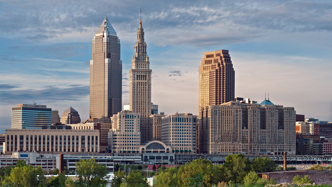 Evening view of the city of Cleveland, Ohio.