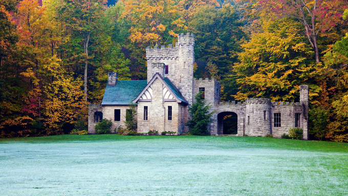 Squire's Castle in Willoughby Hills, Ohio. Colorful trees and frost on the grass. Near Cleveland.