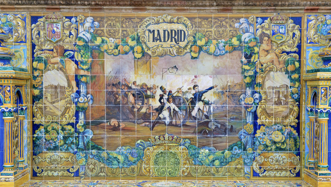 Famous ceramic decoration in Plaza de Espana, Sevilla, Spain. Madrid theme.