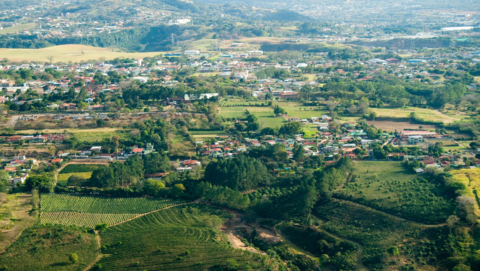 Aerial view of the city of San Jose, in Costa Rica.