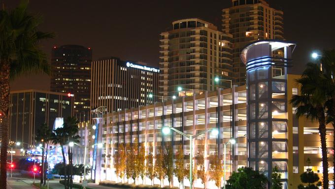 Long Beach skyline at night.