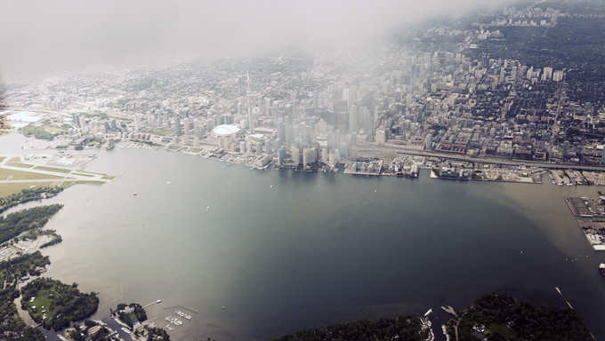 An aerial view of Toronto.