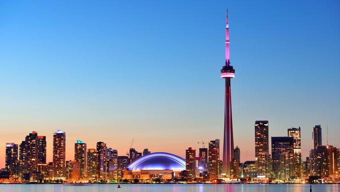 Toronto sunset over lake Ontario.