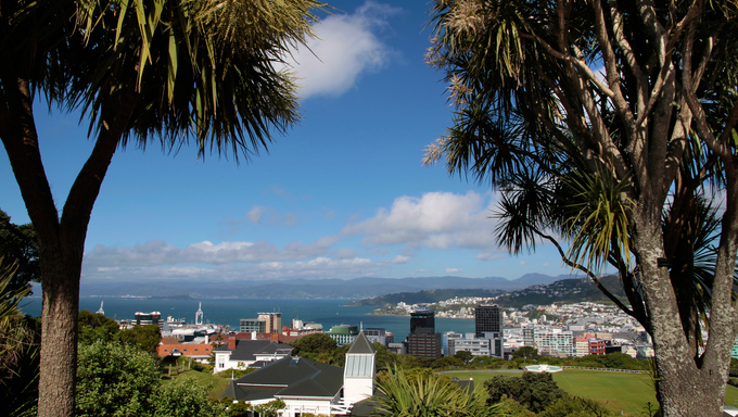 View  from the Botancial Garden over Wellington, New Zealand.