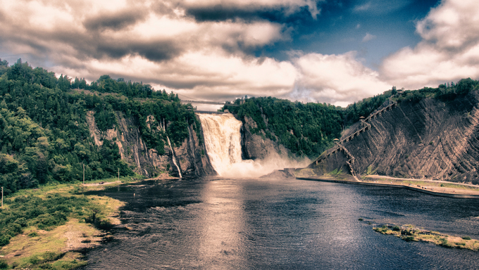 Colors of Montmorency Falls in Quebec, Canada