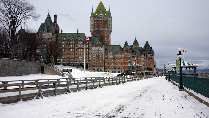 CHATEAU FRONTENAC in Quebec city in winter with snow