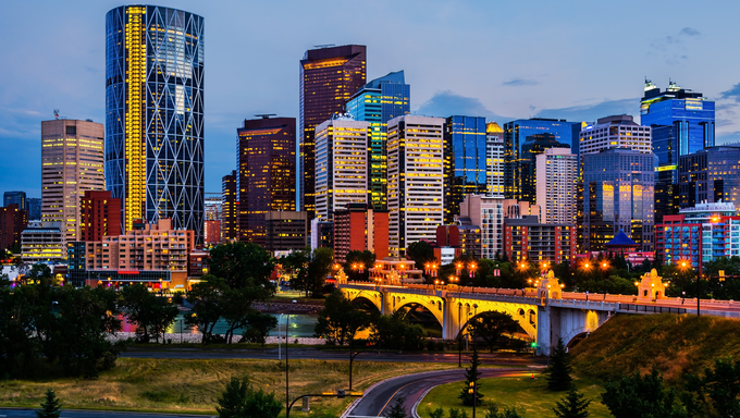 The Calgary skyline entering sunset.