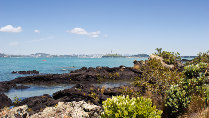 The view from Rangitoto Island in the Hauraki Gulf, New Zealand. Auckland City in the background.