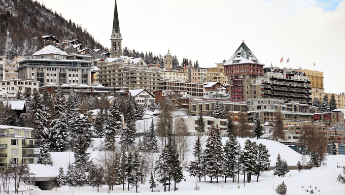 View of St. Moritz during winter