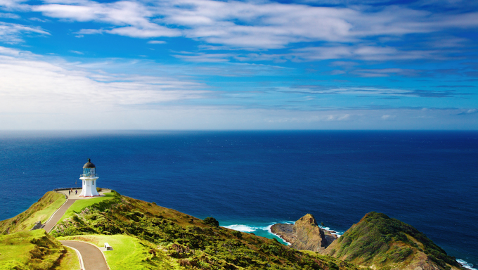 Cape Reinga Lighthouse, on the north edge of New Zealand.