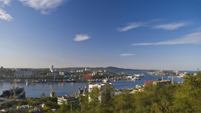 Morning in a seaport in Vladivostok.