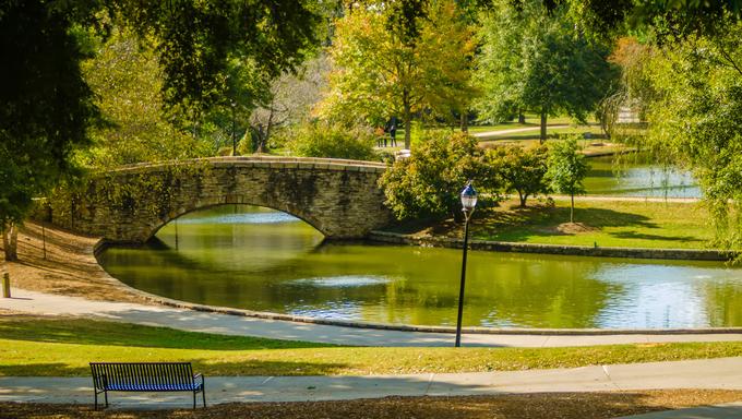 flagstone walking bridge at Freedom Park in Charlotte, North Carolina