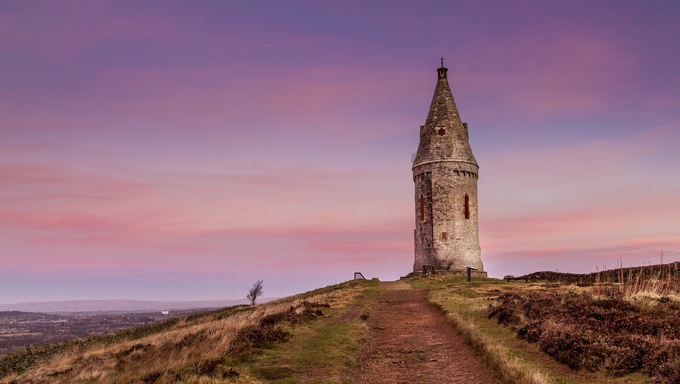 Hartshead Pike is a hill in Tameside in Greater Manchester, England,[2] and its name is associated with the monument on its summit. It overlooks Ashton-under-Lyne, Mossley and Oldham.