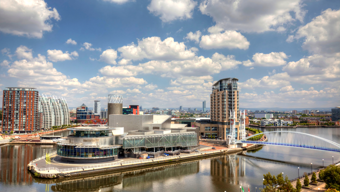 Panoramic view of Manchester from Salford Quays HDR image
