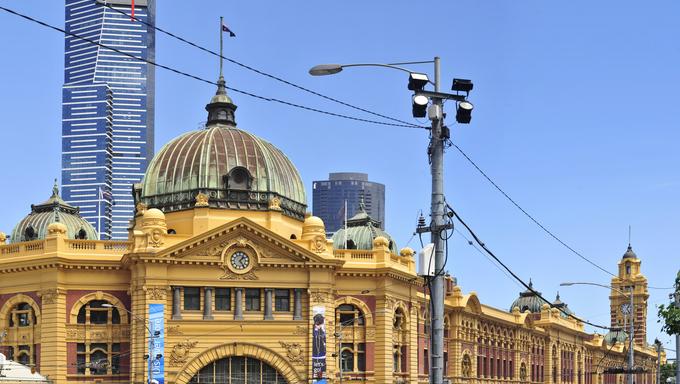 Flinders station view from Flinders Street - Melbourne - Australia.