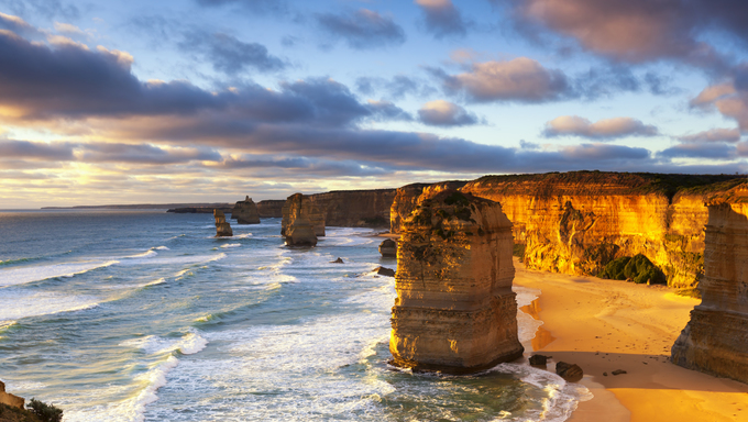 Twelve Apostles at sunset.