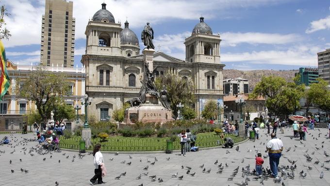 A cathedral in Plaza Murillo, La Paz.