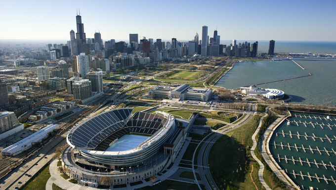 Aerial view of Chicago, Illinois skyline with Soldier Field.