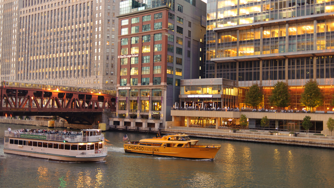 Watertaxi boat at Chicago downtown in Chicago, Illinois. Chicago is the third most populous city in the United States, after New York City and Los Angeles.