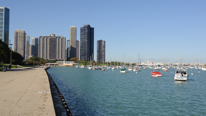 Yachts in downtown of Chicago.