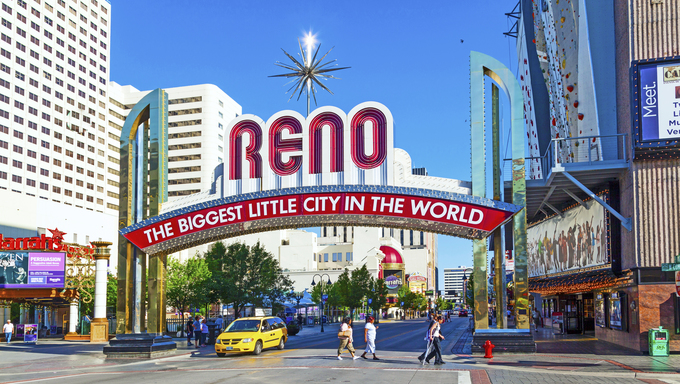 The Reno Arch on in Reno, Nevada. The original arch was built in 1926 to commemorate the completion of the Lincoln and Victory Highways.