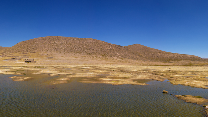 Peruvian highland lake in Reserva Natural de Salinas e Aguada Blanca National Park.