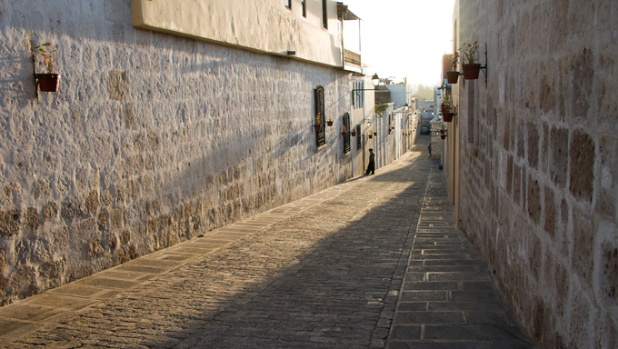a street in Arequipa baking in afternoon sunlight