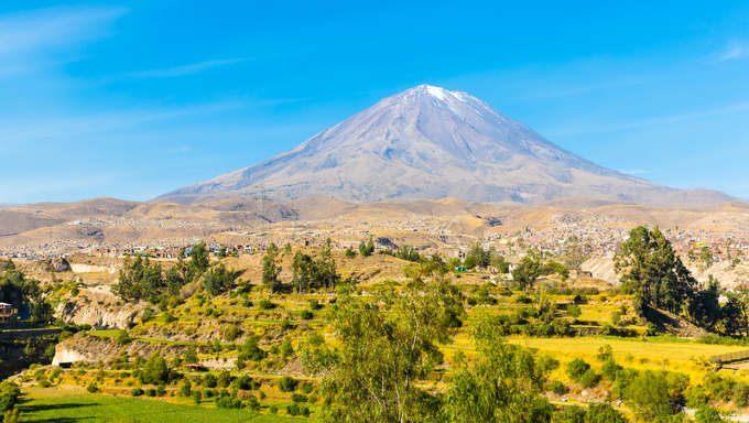 View of the Misty Volcano in Arequipa.