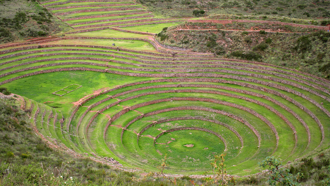 Terraces of Pisac in Urubamba valley near Cusco.