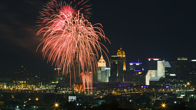 Fourth of July fireworks in downtown Cincinnati, Ohio.