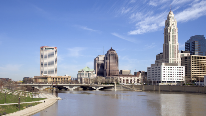 View of downtown Columbus, Ohio and the Scioto River.