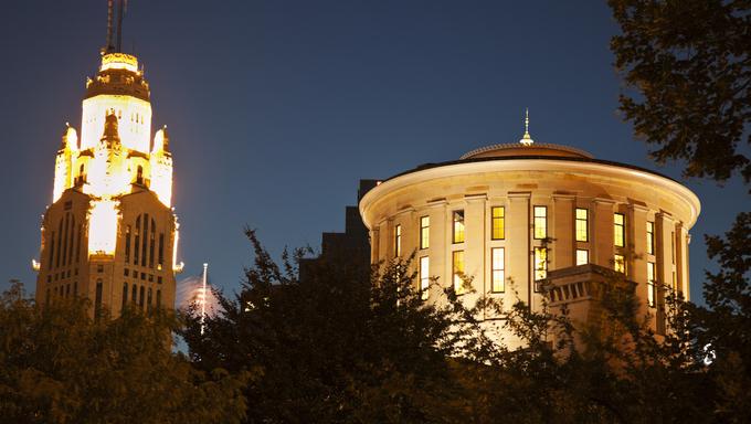 Columbus, Ohio State Capitol Building at night.