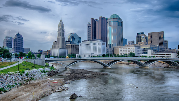 Columbus, Ohio skyline reflected in the Scioto River. Columbus is the capital of Ohio.