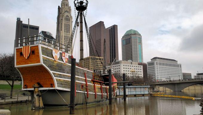 Ship in Columbus river.