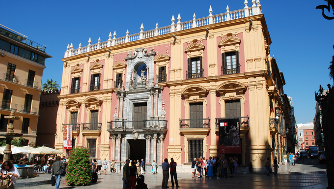 Bishop palace (Palace Episcopal) at the Plaza of the Bishop in Malaga, Spain.